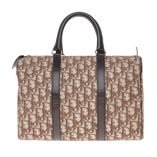 "Christian Dior - Sac à main ""Boston"" bowling 30cm en toile monogram oblique et cuir marron Handbag"