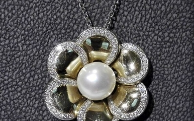 Cielo - 18 kt. Akoya pearl, Yellow gold, 8 mm - Necklace with pendant - Diamonds