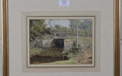 Circle of George Robert Vawser - View of a Weir, late 19th century watercolour over pencil traces, 1