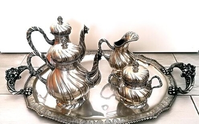 Coffee and tea service, Extraordinary Service from Tea and Coffee (5) - .800 silver - Italy - Late 19th century