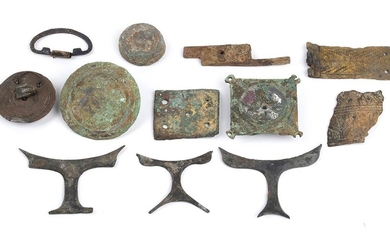 Collection of twelve Roman bronze decorative appliques, 3rd-4th century...