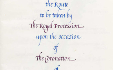 Coronation of Elizabeth II.- Gardner (Anthony) Sketch Map of the Route to be taken by The Royal Procession upon the occasion of The Coronation of Her Majesty Elizabeth II..., calligraphic manuscript with 7 full-page watercolours, 1953.