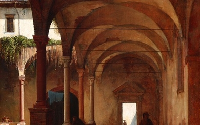 Danish painter, mid 19th century: View from a monastery garden with monks. Unsigned. Oil on canvas. 43×40.5 cm.
