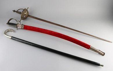 Decorative saber and epee + nickel-plated walking stick