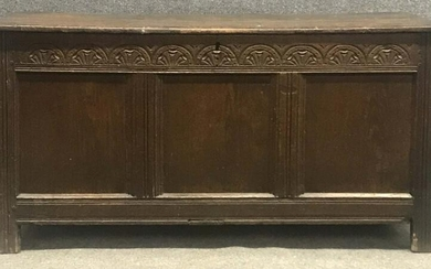 """EARLY 18THC. ENGLISH PANEL CONSTRUCTED CHEST 24"""" TALL X"""