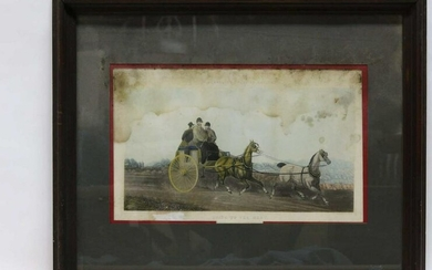 "ENGLISH COLORED ENGRAVING ""GOING TO THE MEET"" 39"""