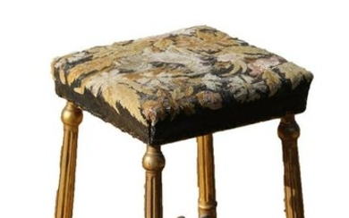 ENGLISH PARCEL GILT NEEDLEPOINT VANITY SEAT