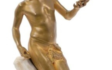 Early 20th century Continental Art Nouveau gilt bronze figure of a boy on marble base