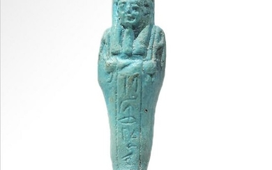 Egyptian Turquoise Faience Shabti Inscribed for