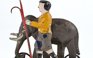 Elephant and Handler with Bullhook Tin Toy