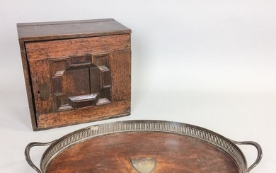 English Silver-plate and Oak Tray and an Oak Spice Chest, 19th century, ht. to 12, lg. to 23 in.