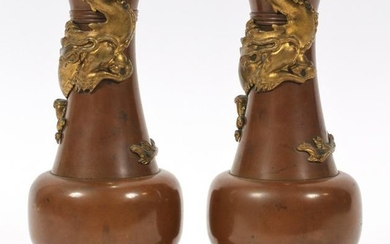 """FRENCH BRONZE URNS, 19TH.C PAIR, H 8.7"""", D 4"""""""