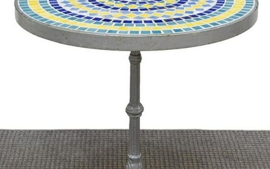 FRENCH MOSAIC TILED CAST IRON BISTRO TABLE