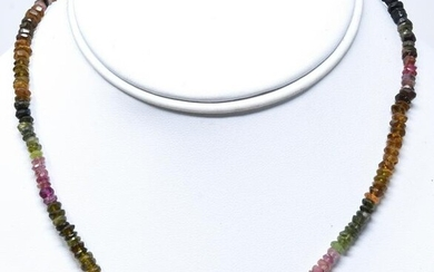 Faceted Tourmaline & Topaz Beaded Necklace
