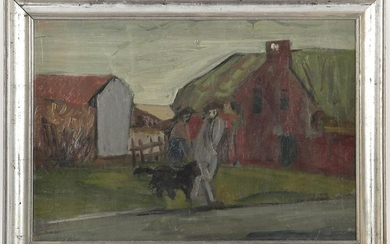 Figures with a dog in a landscape, board dated 1955
