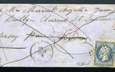 France 1860 - Rare letter from Clairac bound for the Anglo-Norman Island of Jersey