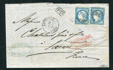 France 1871 - Rare letter from the French office in Beirut with two No. 44A stamps
