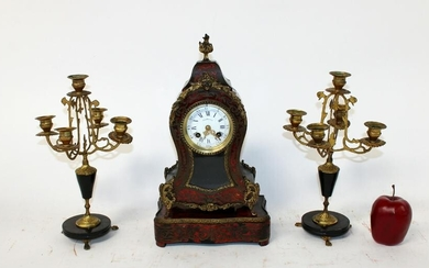 French Boulle style 3pc clock set