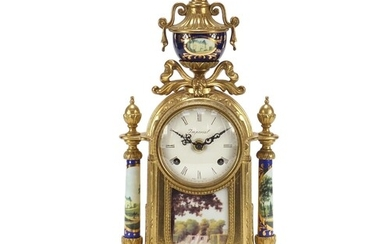 French Empire style gilt metal mantle clock with porcelain p...