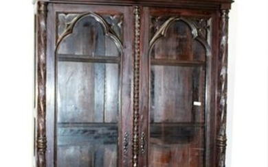 French Gothic Revival 2-door bookcase