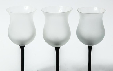 Frosted And Black Wine Glasses, 3
