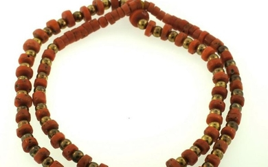 GORGEOUS VICTORIAN 10K YELLOW GOLD CORAL BEAD STRAND