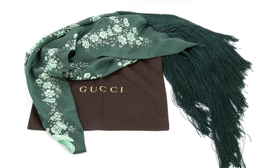 GUCCI SILK SHAWL 2015 ca Green silk fringed floral pattern...