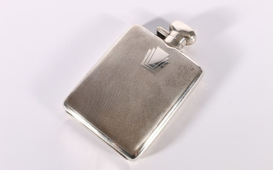 George V Art Deco period silver spirit hip flask with engine...