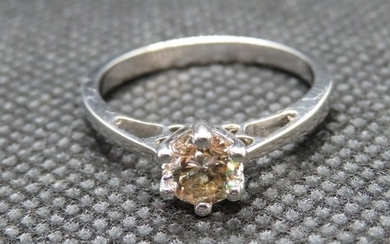 HM 18ct white gold diamond solitaire ring approx .6ct