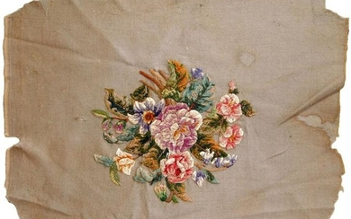 Handmade antique English embroidery 2' x 2.2' (62cm x