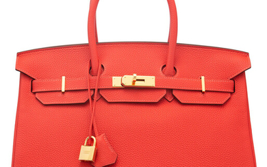 Hermès 35cm Rouge Pivoine Togo Leather Birkin Bag with...