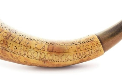 IMPORTANT AND HISTORIC ENGRAVED POWDER HORN OF JOHN