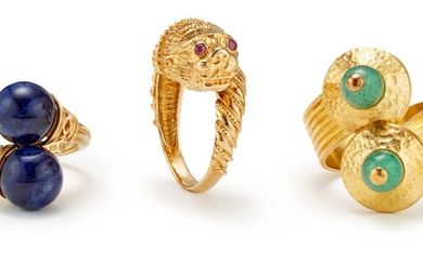 Ilias Lalaounis, A Group of Gem-Set and Gold Rings
