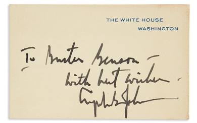 JOHNSON, LYNDON B. White House card Inscribed and Signed, as President