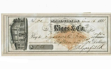 James Garfield Signed Check as President, One of Only
