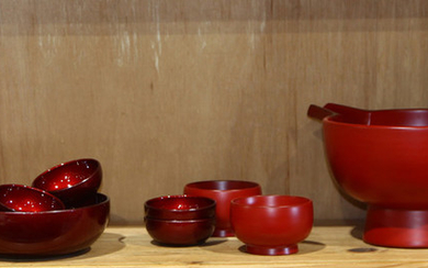 Japanese Vermilion Lacquered Bowls, Serving Set