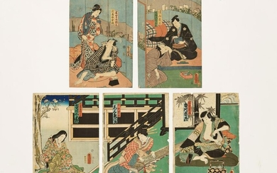 KUNISADA: ONE DIPTYCH AND ONE TRIPTYCH WOODBLOCK PRINT