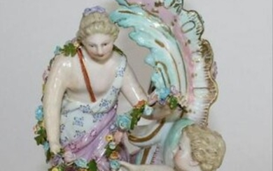 "Large 8 1/4""H Meissen 19Th C Porcelain Figural Candle"
