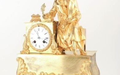 Large French mantel clock with a writer - Bronze - 1830/1850