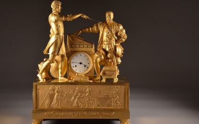 """Large sized pendulum, """"Phaedra & Hippolytus"""" - Neoclassical - Bronze (gilt), Mechanical - 8 day timepiece - half an hour, a bell - Early 19th century"""