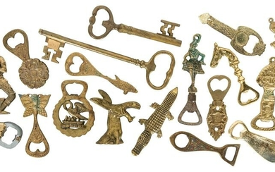 Lot of Over 20 Bottle Openers. Majority cast brass and