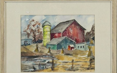 Maude Schneller Watercolor Titled An Old Fashioned Farm