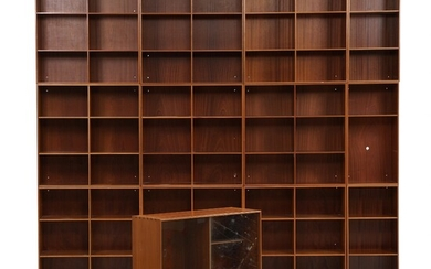 Mogens Koch: Wall unit consisting of nine 1/1 bookcases, three 1/2 bookcases and one showcase...