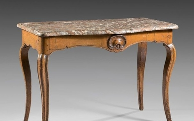 Moulded and carved oak console with staple and...