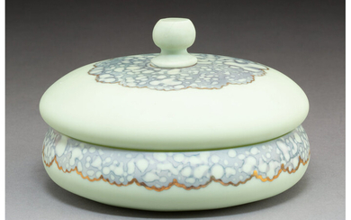 New England Glass Co. Green Agata Glass Covered Box (late 19th century)