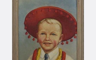 ORD, Oil/c Young Mexican Boy in Red Hat