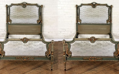 PAIR CARVED PAINTED GILT TWIN BEDS CIRCA 1940