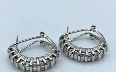 Pair of 14ct white gold earrings with diamonds (approx 2ct),...