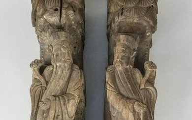 Pair of Carved Wood Temple Guardians