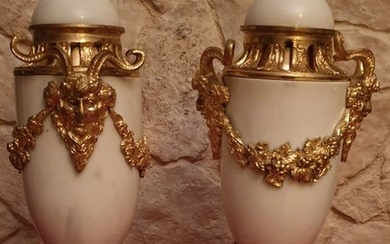 Pair of Cassolettes (2) - Louis XVI Style - Bronze, Bronze (gilt), Bronze (patinated), Marble - Late 19th century